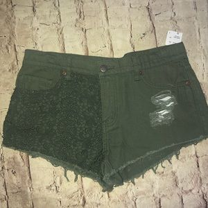 F21 Olive Green Cut Off Floral Jean shorts 29